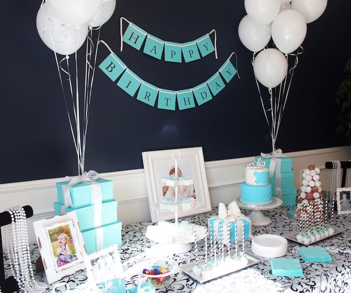Head table from a Breakfast at Tiffany's Birthday Party via Kara's Party Ideas KarasPartyIdeas.com (12)