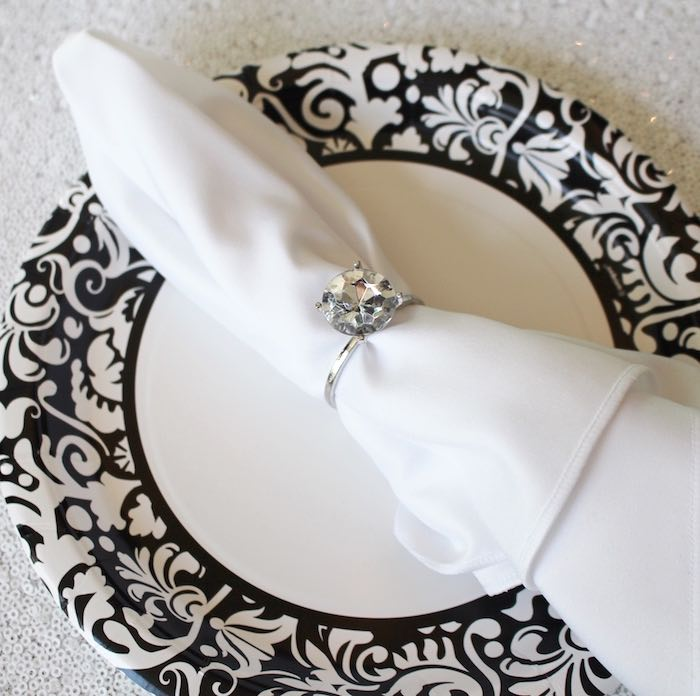 Napkin ring + place setting from a Breakfast at Tiffany's Birthday Party via Kara's Party Ideas KarasPartyIdeas.com (11)