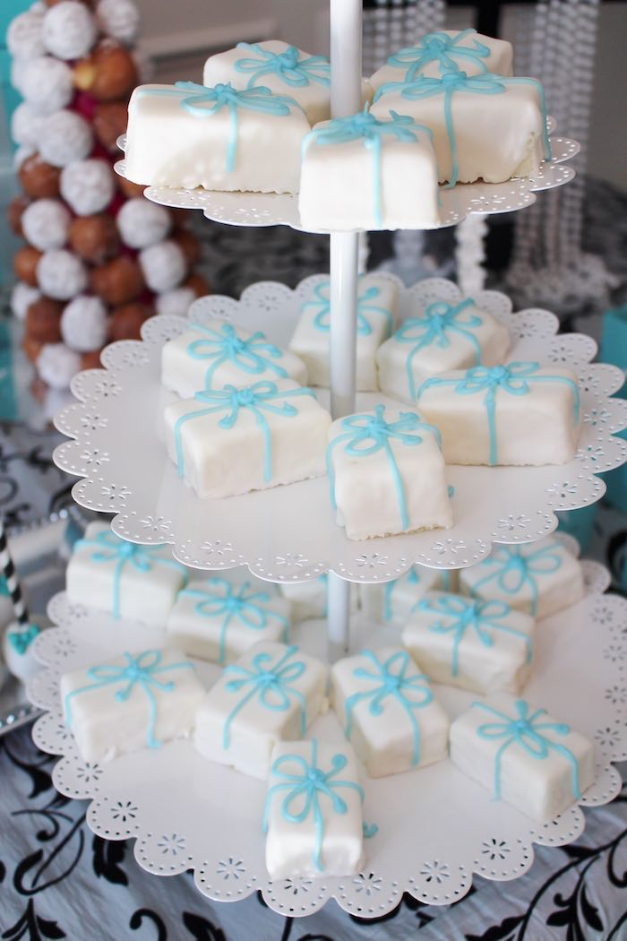 Gift box petite fours from a Breakfast at Tiffany's Birthday Party via Kara's Party Ideas KarasPartyIdeas.com (8)