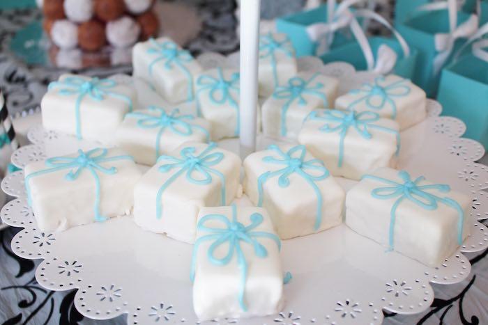 Gift box petite fours from a Breakfast at Tiffany's Birthday Party via Kara's Party Ideas KarasPartyIdeas.com (7)