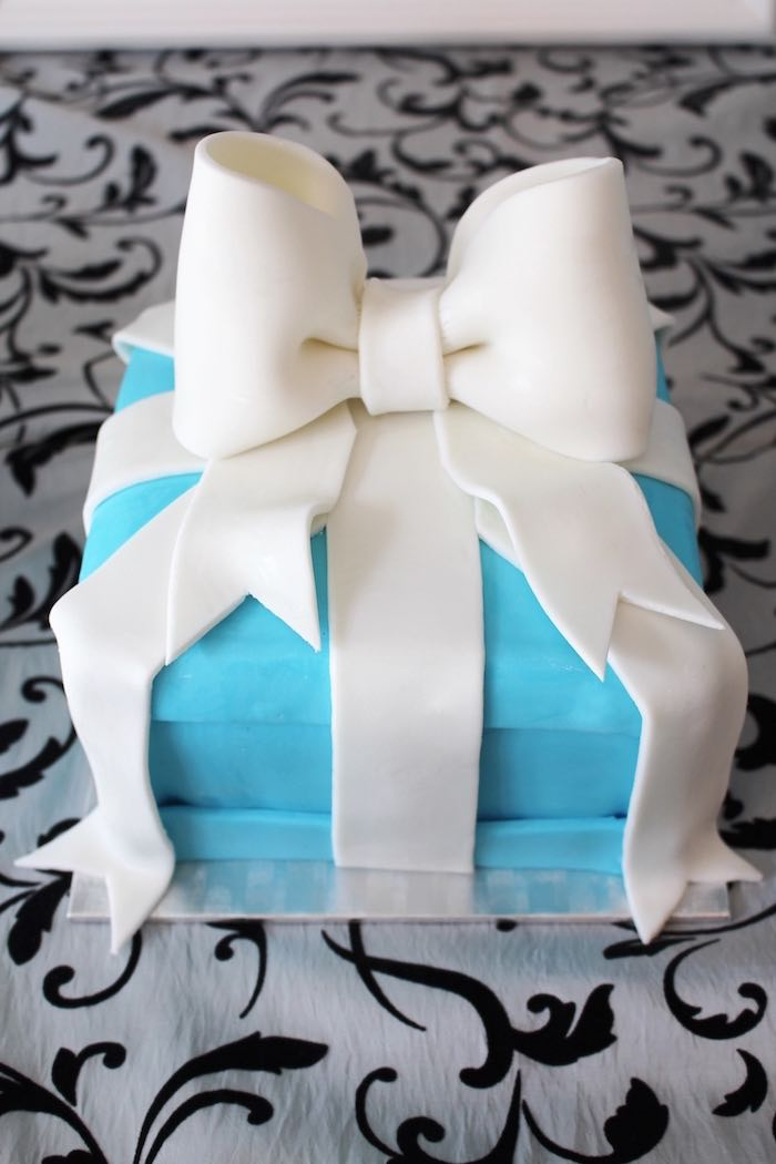 Tiffany's Gift Box-inspired Smash Cake from a Breakfast at Tiffany's Birthday Party via Kara's Party Ideas KarasPartyIdeas.com (4)