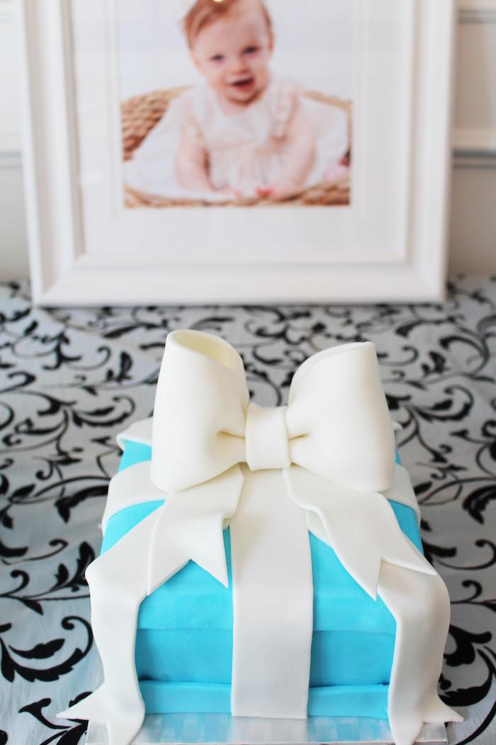 Tiffany Gift Box Smash Cake from a Breakfast at Tiffany's Birthday Party via Kara's Party Ideas KarasPartyIdeas.com (3)