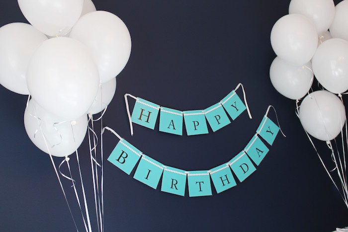 Banner from a Breakfast at Tiffany's Birthday Party via Kara's Party Ideas KarasPartyIdeas.com (24)
