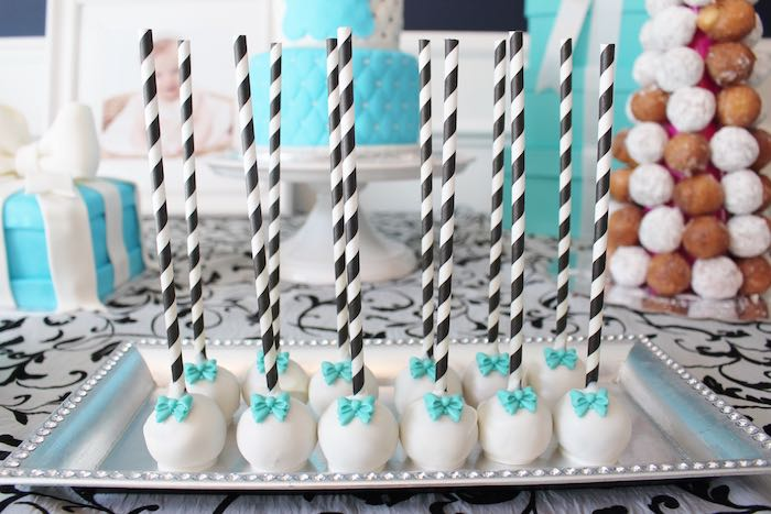 Cake pops from a Breakfast at Tiffany's Birthday Party via Kara's Party Ideas KarasPartyIdeas.com (21)