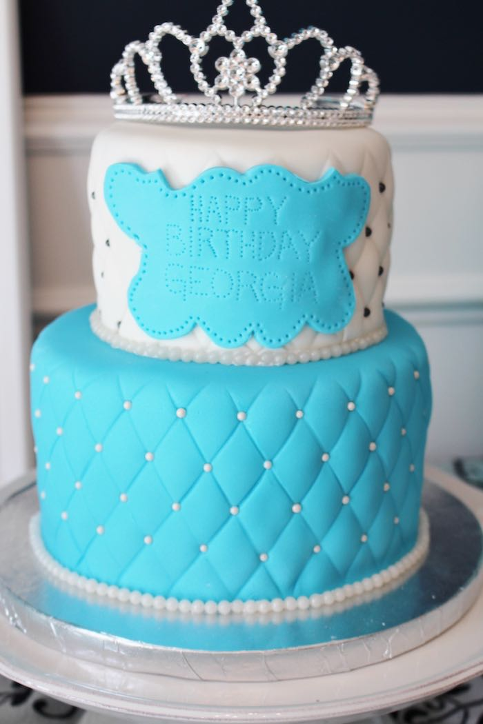 Tiffany-inspired Birthday Cake from a Breakfast at Tiffany's Birthday Party via Kara's Party Ideas KarasPartyIdeas.com (20)