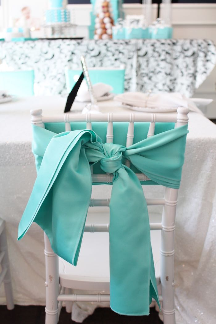 Chair back from a Breakfast at Tiffany's Birthday Party via Kara's Party Ideas KarasPartyIdeas.com (19)