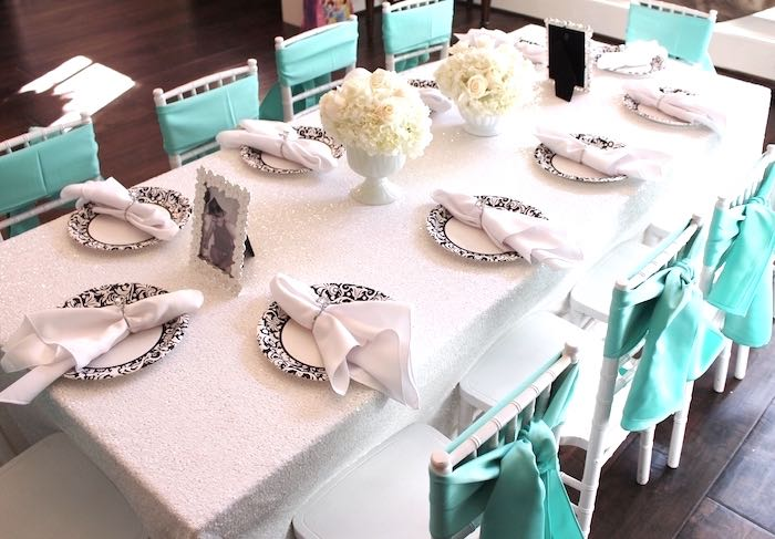 Children's dining table from a Breakfast at Tiffany's Birthday Party via Kara's Party Ideas KarasPartyIdeas.com (18)
