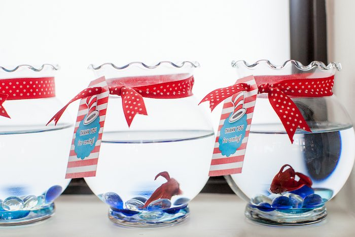 Betta Fish favors from a Cat in the Hat themed Birthday Party via Kara's Party Ideas | KarasPartyIdeas.com - The Place for All Things Party! (68)