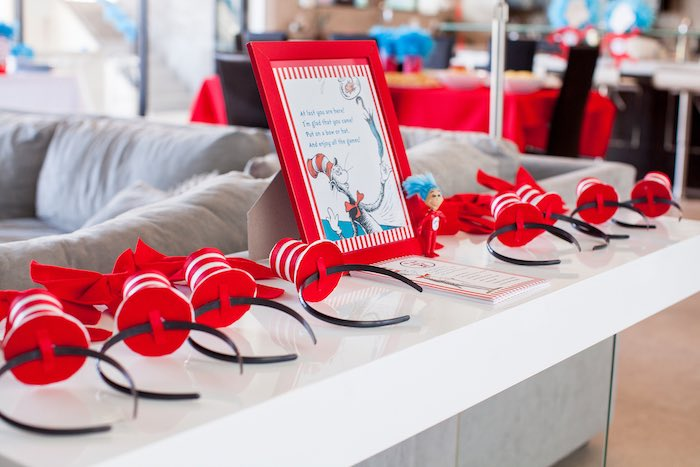Entrance table from a Cat in the Hat themed Birthday Party via Kara's Party Ideas | KarasPartyIdeas.com - The Place for All Things Party! (65)