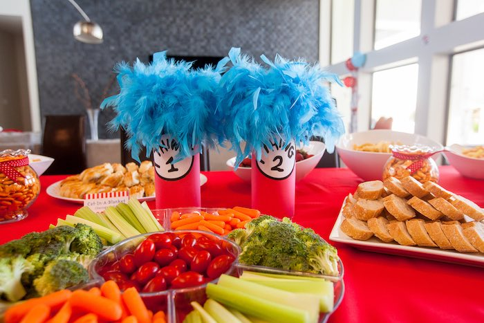 Food table from a Cat in the Hat themed Birthday Party via Kara's Party Ideas | KarasPartyIdeas.com - The Place for All Things Party! (61)