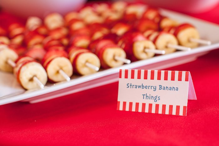 Food - Strawberry Banana Things from a Cat in the Hat themed Birthday Party via Kara's Party Ideas | KarasPartyIdeas.com - The Place for All Things Party! (60)