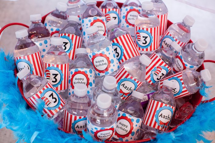 Water bottles from a Cat in the Hat themed Birthday Party via Kara's Party Ideas | KarasPartyIdeas.com - The Place for All Things Party! (55)
