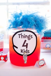 Thing 4 beverage dispenser from a Cat in the Hat themed Birthday Party via Kara's Party Ideas   KarasPartyIdeas.com - The Place for All Things Party! (54)