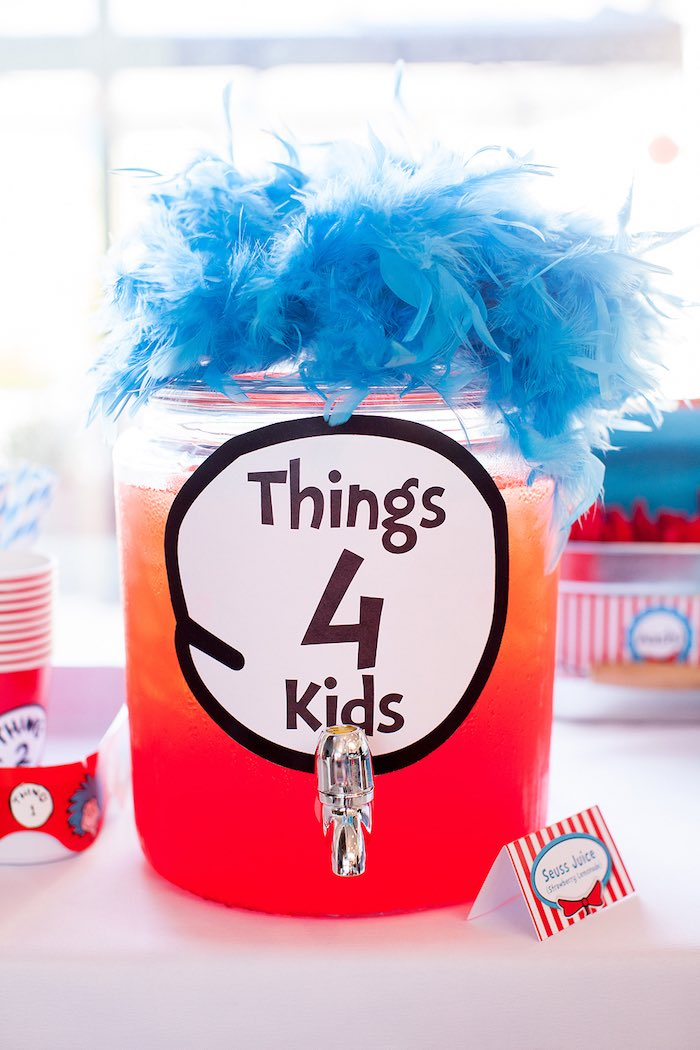 Thing 4 beverage dispenser from a Cat in the Hat themed Birthday Party via Kara's Party Ideas | KarasPartyIdeas.com - The Place for All Things Party! (54)