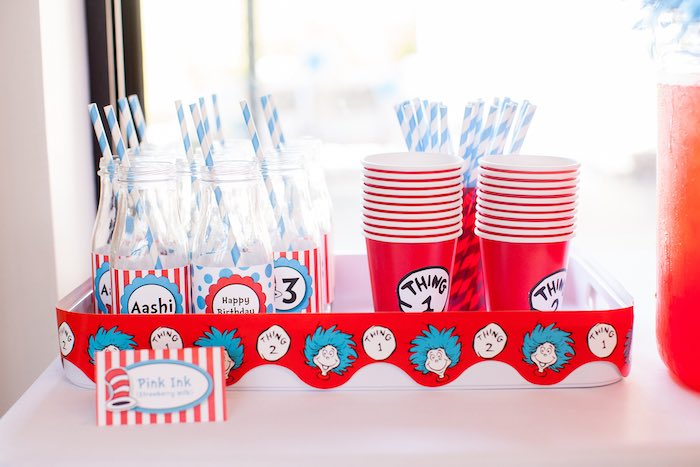 Drinks from a Cat in the Hat themed Birthday Party via Kara's Party Ideas | KarasPartyIdeas.com - The Place for All Things Party! (53)