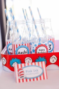 Glass drink bottles from a Cat in the Hat themed Birthday Party via Kara's Party Ideas | KarasPartyIdeas.com - The Place for All Things Party! (52)