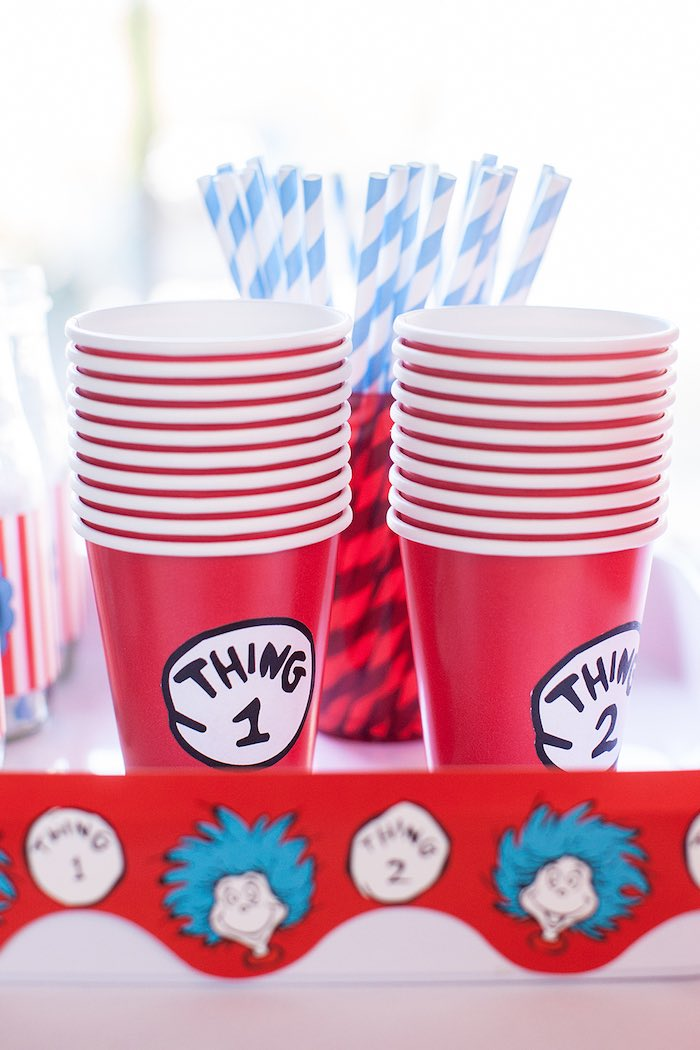 Thing 1 & Thing 2 cups from a Cat in the Hat themed Birthday Party via Kara's Party Ideas | KarasPartyIdeas.com - The Place for All Things Party! (51)
