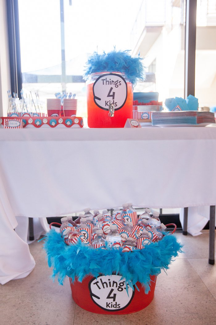 Kids' drink table from a Cat in the Hat themed Birthday Party via Kara's Party Ideas | KarasPartyIdeas.com - The Place for All Things Party! (49)