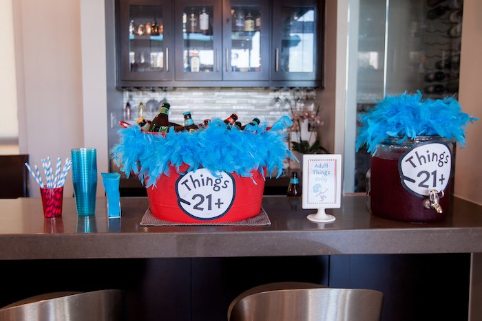 """Adult Things Only"" drink table from a Cat in the Hat themed Birthday Party via Kara's Party Ideas 