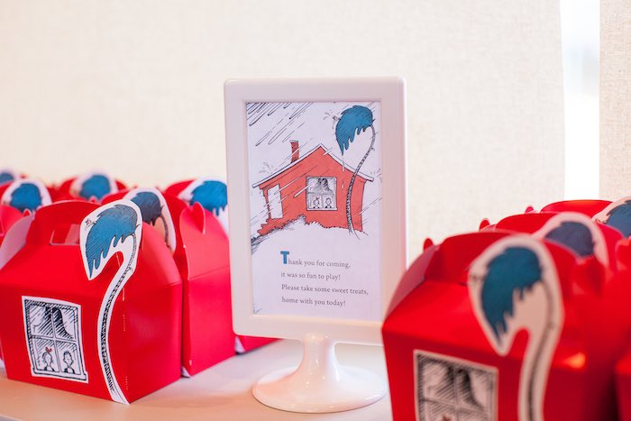 The Cat in the Hat's Walden House favor boxes from a Cat in the Hat themed Birthday Party via Kara's Party Ideas | KarasPartyIdeas.com - The Place for All Things Party! (47)