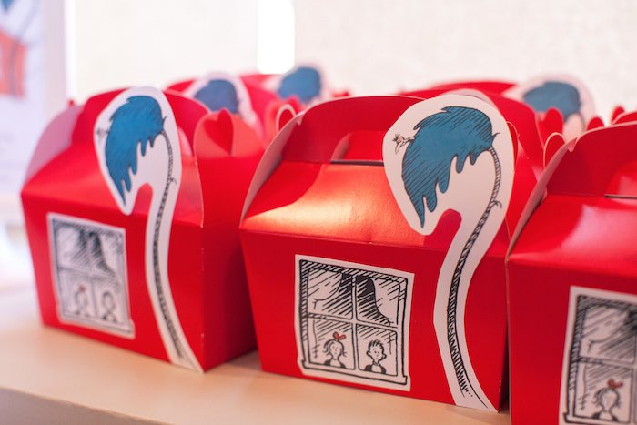 Walden House Cat in the Hat favor boxes from a Cat in the Hat themed Birthday Party via Kara's Party Ideas | KarasPartyIdeas.com - The Place for All Things Party! (46)