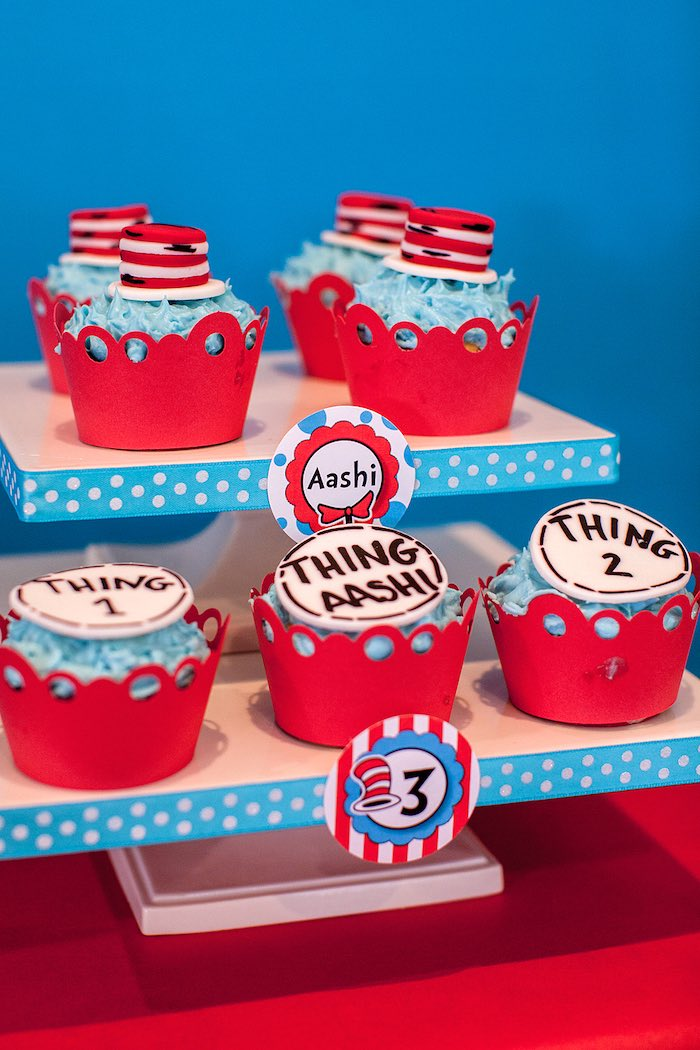 Cat in the Hat Cupcakes from a Cat in the Hat themed Birthday Party via Kara's Party Ideas | KarasPartyIdeas.com - The Place for All Things Party! (45)