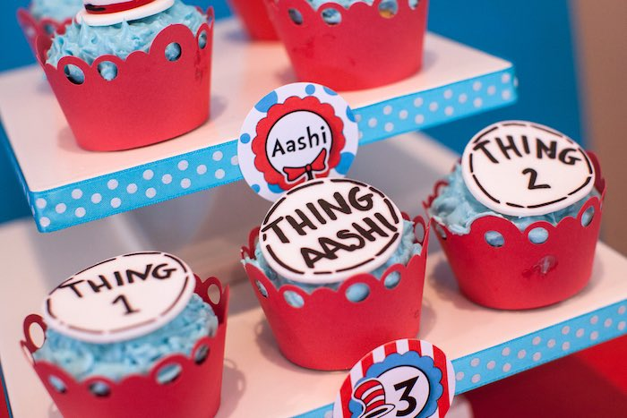 Cupcakes from a Cat in the Hat themed Birthday Party via Kara's Party Ideas | KarasPartyIdeas.com - The Place for All Things Party! (44)