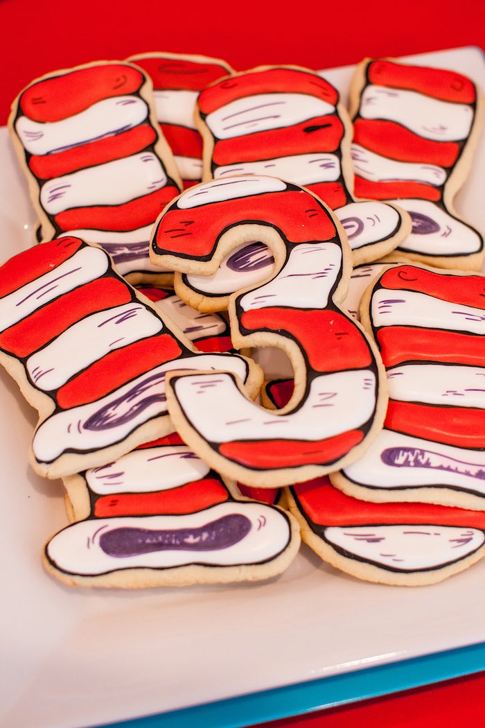 Cat in the Hat Cookies from a Cat in the Hat themed Birthday Party via Kara's Party Ideas   KarasPartyIdeas.com - The Place for All Things Party! (42)