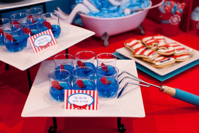 """Up Up Up with a Fish"" Jello Cups from a Cat in the Hat themed Birthday Party via Kara's Party Ideas 