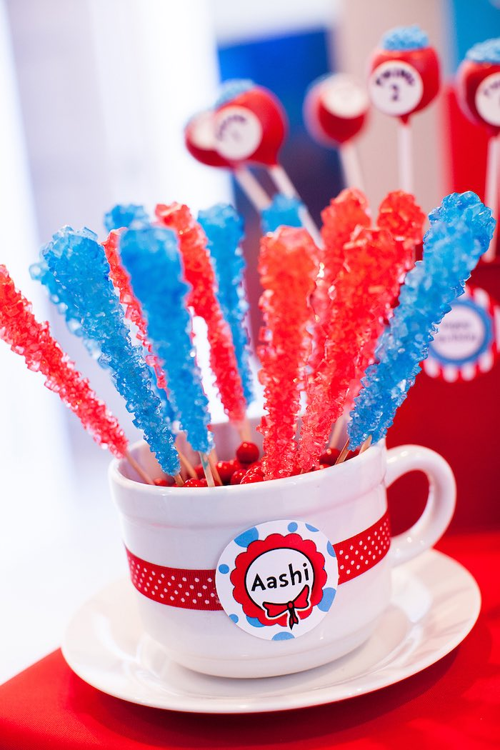 Rock candy sticks from a Cat in the Hat themed Birthday Party via Kara's Party Ideas | KarasPartyIdeas.com - The Place for All Things Party! (40)