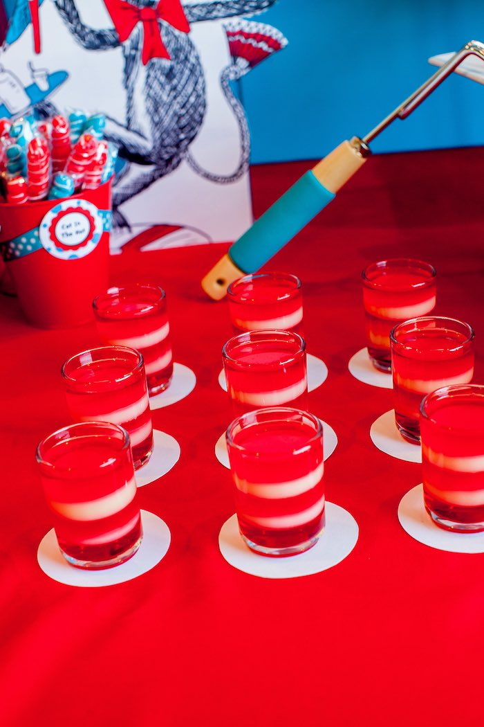 Cat in the Hat Jello Cups from a Cat in the Hat themed Birthday Party via Kara's Party Ideas | KarasPartyIdeas.com - The Place for All Things Party! (38)