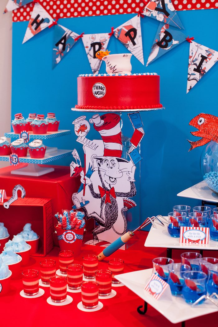 Table decor + sweets from a Cat in the Hat themed Birthday Party via Kara's Party Ideas | KarasPartyIdeas.com - The Place for All Things Party! (37)