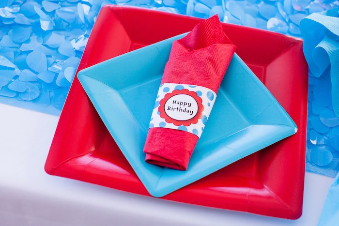 Cat in the Hat Place Setting from a Cat in the Hat themed Birthday Party via Kara's Party Ideas   KarasPartyIdeas.com - The Place for All Things Party! (33)