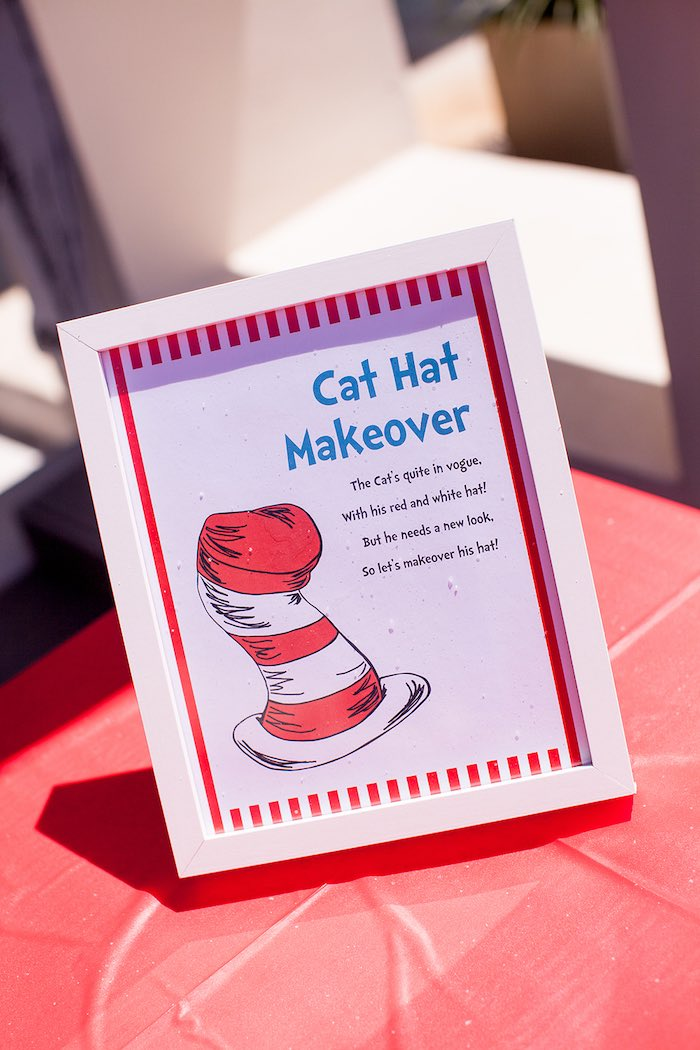 Activity party signage from a Cat in the Hat themed Birthday Party via Kara's Party Ideas | KarasPartyIdeas.com - The Place for All Things Party! (32)