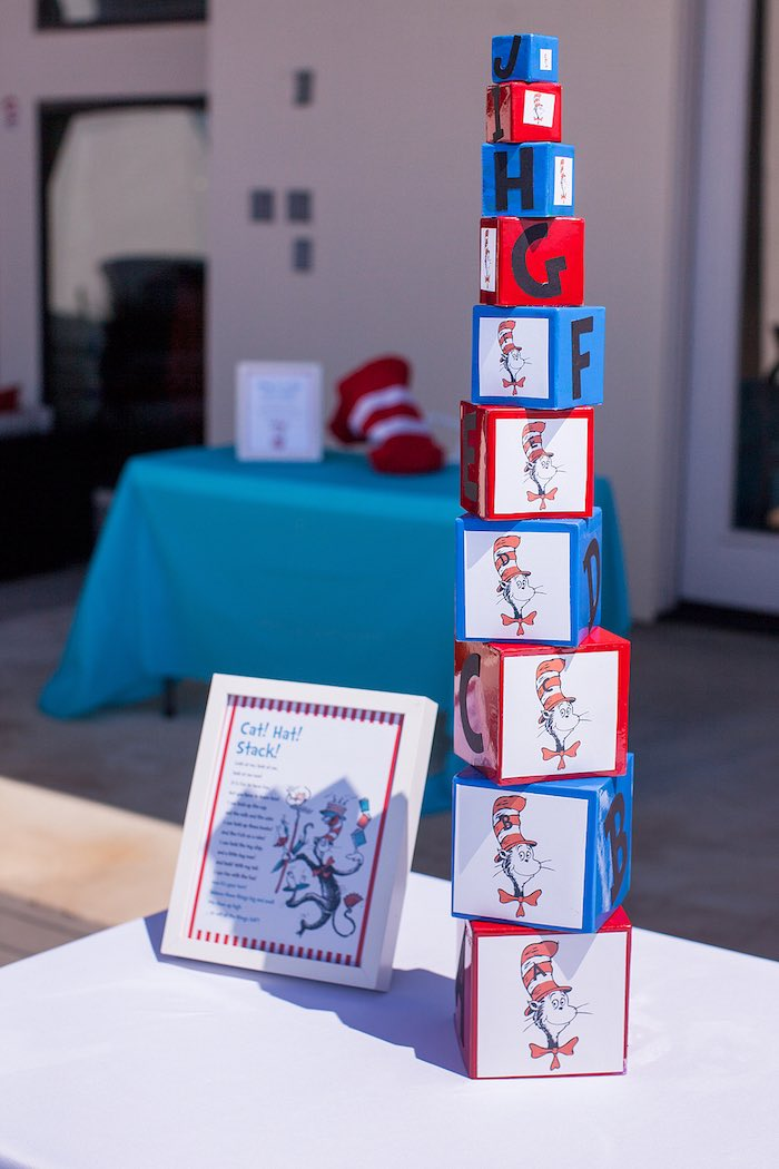 Cat's Hat Stacking Game from a Cat in the Hat themed Birthday Party via Kara's Party Ideas | KarasPartyIdeas.com - The Place for All Things Party! (29)