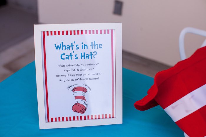 Party signage + memorization game from a Cat in the Hat themed Birthday Party via Kara's Party Ideas | KarasPartyIdeas.com - The Place for All Things Party! (27)