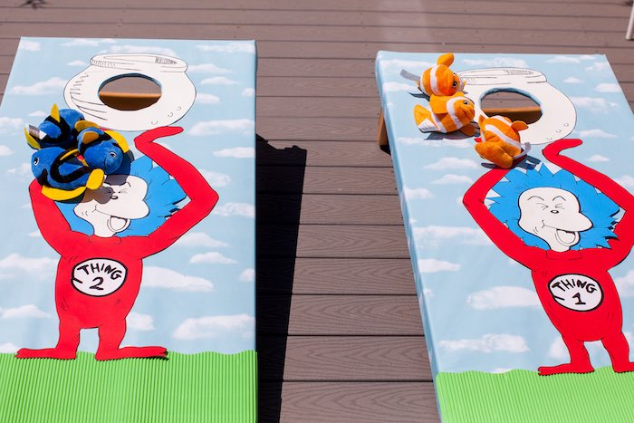 d2bffb5d ... Thing 1 & Thing 2 Bing Bag Toss from a Cat in the Hat themed Birthday  ...