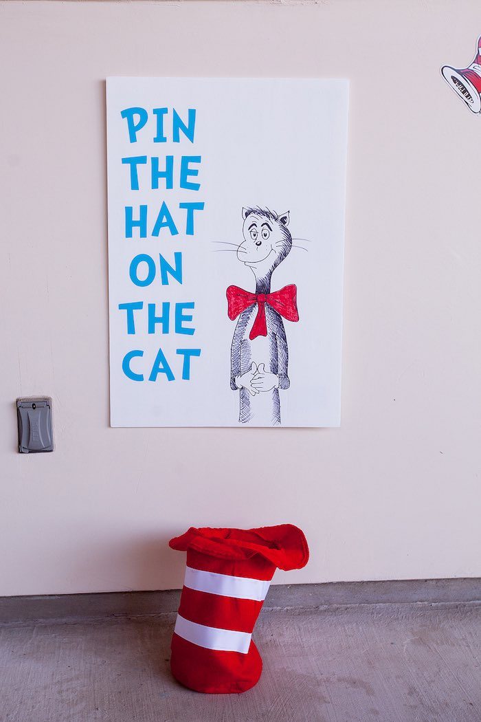 Pin the Hat on the Cat Game from a Cat in the Hat themed Birthday Party via Kara's Party Ideas | KarasPartyIdeas.com - The Place for All Things Party! (24)