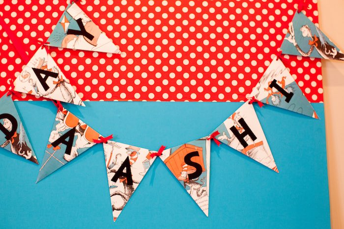 Pennant banner from a Cat in the Hat themed Birthday Party via Kara's Party Ideas | KarasPartyIdeas.com - The Place for All Things Party! (22)