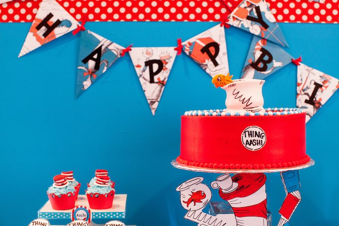 Cat in the Hat Cake from a Cat in the Hat themed Birthday Party via Kara's Party Ideas | KarasPartyIdeas.com - The Place for All Things Party! (21)