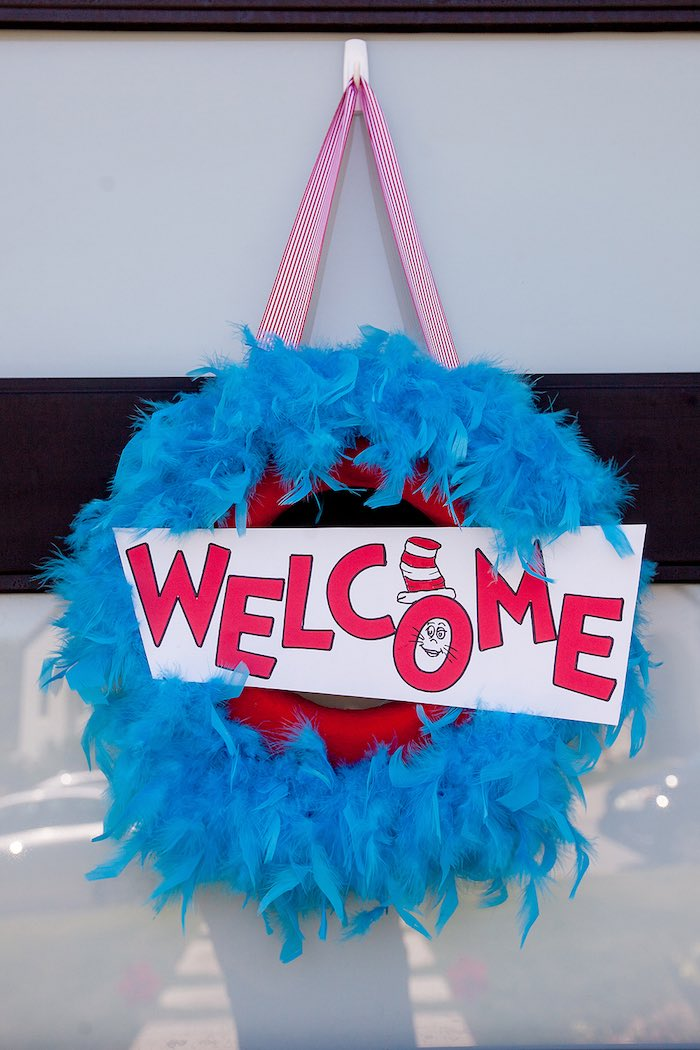 Feathered Cat in the Hat welcome wreath from a Cat in the Hat themed Birthday Party via Kara's Party Ideas | KarasPartyIdeas.com - The Place for All Things Party! (75)