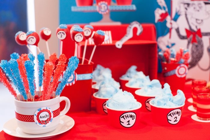 Sweets from a Cat in the Hat themed Birthday Party via Kara's Party Ideas | KarasPartyIdeas.com - The Place for All Things Party! (20)