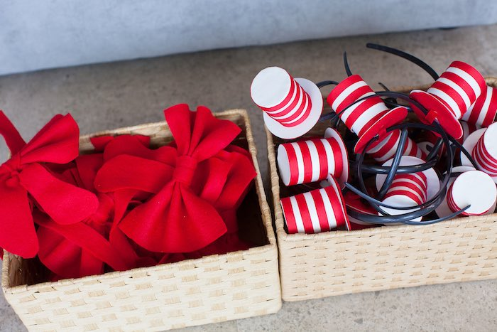Cat in the Hat bows & hats from a Cat in the Hat themed Birthday Party via Kara's Party Ideas   KarasPartyIdeas.com - The Place for All Things Party! (19)
