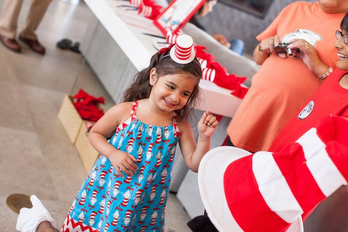 Birthday girl from a Cat in the Hat themed Birthday Party via Kara's Party Ideas | KarasPartyIdeas.com - The Place for All Things Party! (16)