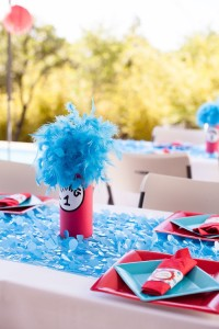 Dining table detail from a Cat in the Hat themed Birthday Party via Kara's Party Ideas   KarasPartyIdeas.com - The Place for All Things Party! (14)