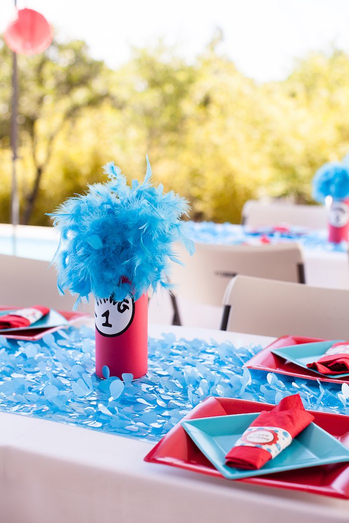 Dining table detail from a Cat in the Hat themed Birthday Party via Kara's Party Ideas | KarasPartyIdeas.com - The Place for All Things Party! (14)