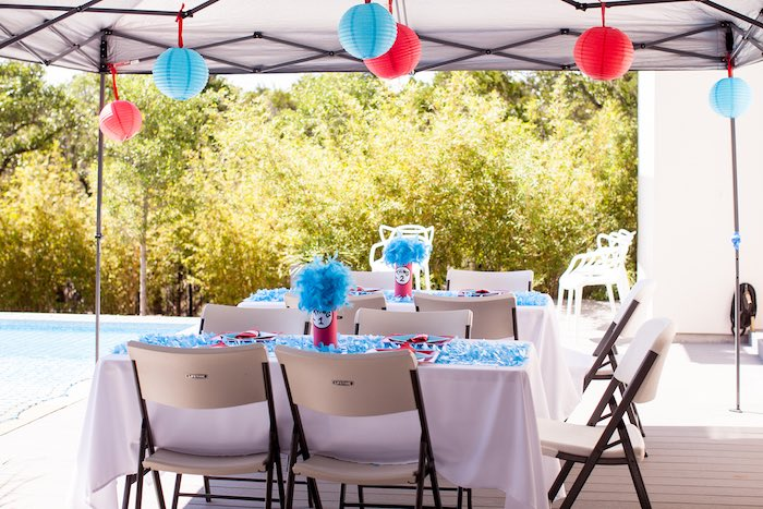 Party tables from a Cat in the Hat themed Birthday Party via Kara's Party Ideas | KarasPartyIdeas.com - The Place for All Things Party! (13)