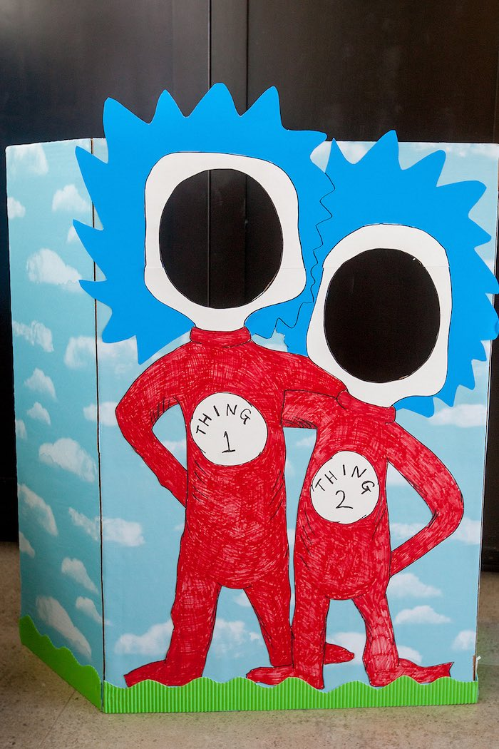Thing 1 & Thing 2 photo backdrop from a Cat in the Hat themed Birthday Party via Kara's Party Ideas | KarasPartyIdeas.com - The Place for All Things Party! (74)