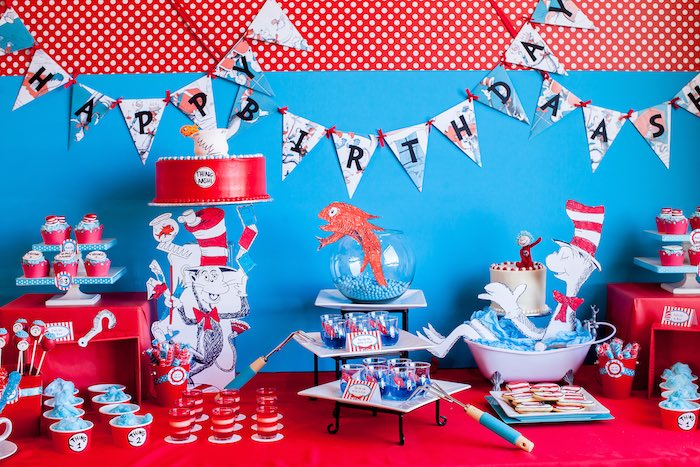 Dessert table detail from a Cat in the Hat themed Birthday Party via Kara's Party Ideas | KarasPartyIdeas.com - The Place for All Things Party! (10)