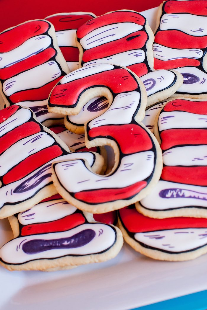 Cat in the Hat cookies from a Cat in the Hat themed Birthday Party via Kara's Party Ideas   KarasPartyIdeas.com - The Place for All Things Party! (8)